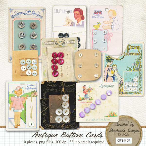 Antique Button Cards