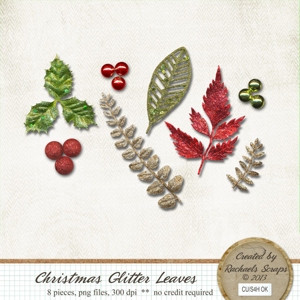 Christmas Glitter Leaves