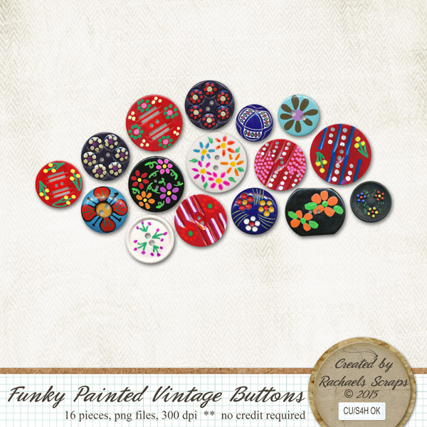 Funky Painted Vintage Buttons