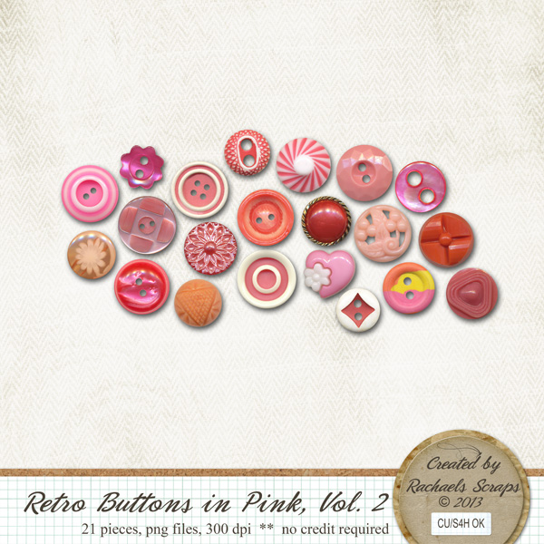 Retro Buttons in Pink, Volume 2